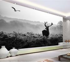 Papel Pintado Mural De Vellón Ciervo Negro Y Pájaro 2 Paisaje Fondo De Pantalla