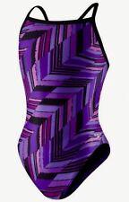 SPEEDO Angles Free Back Endurance+ Purple Black Swim Suit Womens Girls 0 26 2 28
