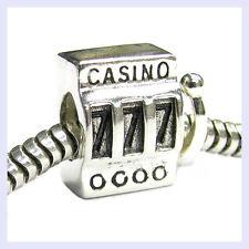 Sterling Silver Lucky 7 Casino Slot Machine 777 Bead for European Charm Bracelet