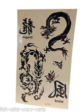 MENS BOYS BLACK ARTY CELTIC CHINESE DRAGON WORDS TEMPORARY TATTOOS 20x10cm UK