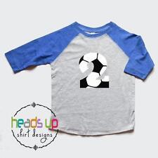 Toddler Soccer Second Birthday Shirt Raglan - Boy/Girl 2 Soccer Number tshirt