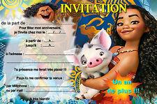 5 - 12 ou 14 cartes invitation anniversaire vaiana REF 418