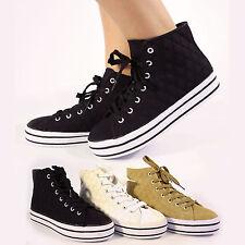 Nuevo Para Mujer Chicas Alta Top Hi Bombas Blanco plimsolls diseñador Zapatos Botas tamaño del Reino Unido