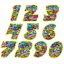 number texture sticker boom helmet adesivo moto bomb design numeri 2 pz. cm.10-5