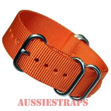 PREMIUM ZULU 5 Ring ORANGE 20mm 22mm 24mm military diver's watch strap band