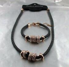 Trend Leder Optik geflochtene Kette oder Armband grau Glitzer Ringe Design