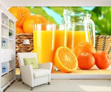 3D Orange juice 3 Wall Paper Print Wall Decal Deco Indoor Wall Murals