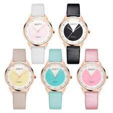 #QZO Women Rivet Dial Quartz Watch Casual Leather Band Rose Gold Frame Watch