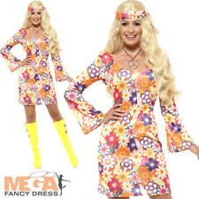 Flower Power Hippie Ladies Fancy Dress 1960s 1970s Groovy Adults Womens Costume