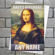 Leonardo da Vinci greeting / birthday card: Mona Lisa. Blank or personalised.