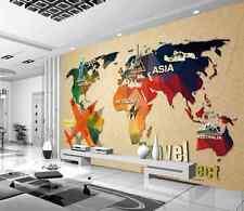 3D Painted World Map Aircraft Wall Paper Wall Print Decal Wall AJ WALLPAPER CA