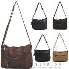 Echt Nappa Leder doppelter Reißverschluss Handtasche Schwarz Marineblau