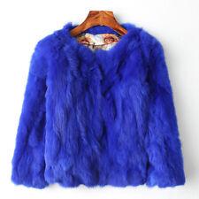 100% Echte Kaninchenfell Frauen Mantel Jacke Mantel Geschenk 3/4 Ärmel Mantel