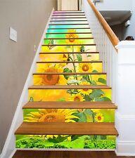 3D Sunflower Stair Risers Decoration Photo Mural Vinyl Decal Wallpaper AU