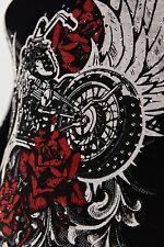 Tattoo Cross Juniors Rhinestone cross Lace Back Slashed Biker punk nwt hardy blk