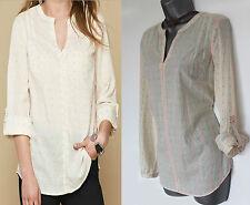 MONSOON Ivory Luna Neon Dobby Long Sleeve Shirt Blouse Top UK 8 10  EU36 38  £35