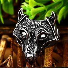Wolf Ring Stainless Steel Biker Punk Rock Norse Viking Nordic Man Accessories