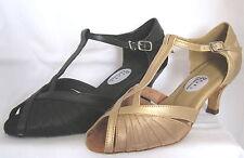 Ladies Black or Gold Ballroom, Latin, Salsa, Jive  Dance Shoes - UK Sizes 3 - 8