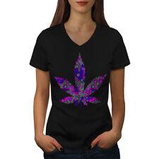 Wellcoda Hippie Freedom Womens V-Neck T-shirt, Sensation Graphic Design Tee