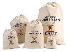 Personalizada Bebé Reno Navidad Algodón Bolsa De Regalo Santa Saco Varios Tamaños