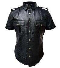 Para hombres Camisa uniforme de la policía Camisa de cuero estampado de cocodrilo bluf
