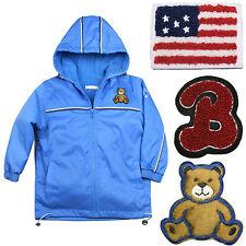 "Baby Boys Toddler Jacket blue Coat Hooded ""B"" Furry Teddy Bear Stars & Stripes"