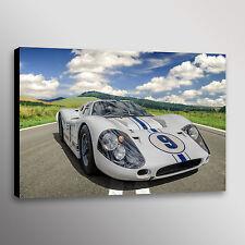 White 1967 Ford GT40 Mk IV Racecar Car Automotive Photo Wall Art Canvas Print