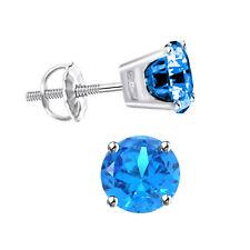 Stud Mens 14k Gold Earring 1/2 Carat Blue Diamond Single