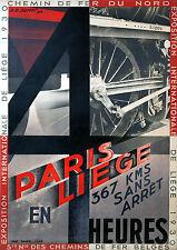 Affiche chemin de fer Nord et Belge - Exposition internationale de Liège 1930