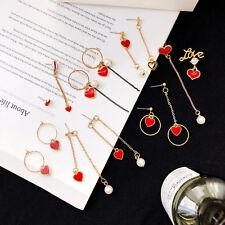 Red Love Heart Asymmetric Gold Hoop Pearl Earrings Dangle Drop Fashion Women