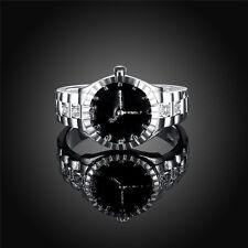 Neu Einzigartig Vorwahlknopf Edelstahl Silber Legierungs Damen Finger Ring Uhr