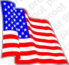 STICKER PATRIOTIC USA FLAG RED WHITE & BLUE WAVING RIGHT