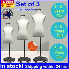 Set Of 3 White Unisex Kids Boy Girl Child Children Mannequin Clothes Dress Stand