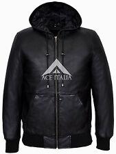 BASEBALL BLACK Men's Hoody Slim Fit Stylish HipHop Italian Lamb  Leather Jacket