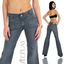 Original REPLAY Vintage Style Damen Jeans Hose Bootcut Schlaghose Grau 0101
