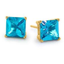 0.50 - 3.60 CARAT 14K YELLOW GOLD BLUE TOPAZ PRINCESS CUT STUD EARRINGS