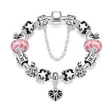925 Sterling Silver Filled Charm Glass Bead Lady Flora Pink Black Bracelet BL369