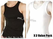 3 x Mens Merino Fine Wool Blend Seamless Thermal Singlet Underwear (2 colors)
