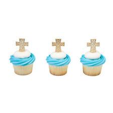 Gold Cross Cupcake Topper Picks - Set of 12 Picks (Easter, Baptism, Communion)