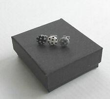 Handmade Fashion Mini Small White & Black Polka Dot Button Stud Earrings - Boxed