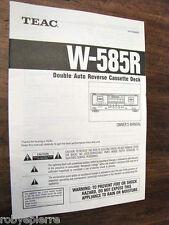 Manuale di istruzioni guida double auto reverse cassette deck TEAC W-585R MANUAL