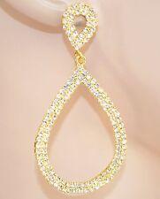 ORECCHINI donna STRASS eleganti cristalli ORO pendenti ovali da cerimonia 60X