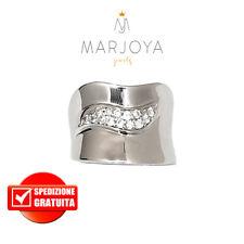 Anello fascia smile con zirconi bianchi in argento 925 rodiato