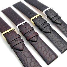 Fina Ajustado Acolchado Cuero Reloj Correa Cocodrilo Grano Negro o Marrón 24mm