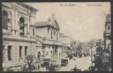 Brazil Postcard Rio Rua 1er De Marco Tramway On Horse L@@K