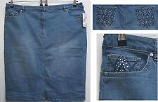 NEU Übergröße toller Damen Stretch Jeans Rock h.blau Glitze Gr.52,56,58,62,64,66