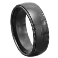 8mm Black Domed High Polish Titanium Ring Milgrain Edge Men's Wedding Band