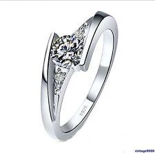 085 Damen Ring 925 Sterling Silber 3 Zirkonia Verlobung Hochzeit Glanz NEU