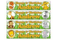 2 x Safari Jungle Animals 1st baby Personalised Birthday Banners