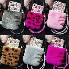 For ZTE Zmax Pro/Z981 Z982 Z983 Hot Bling Pearl Soft Rabbit Fur Strap Case Cover